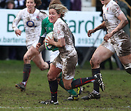29 Feb 2010 Esher, Surrey: Claire Allan of England runs with the ball on the way to scoring a try during the Women's Six Nations game between England and Ireland at Esher Rugby Club (photo by Andrew Tobin/SLIK images)