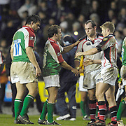 Reading, GREAT BRITAIN, [C] [L] Paul HODGSON shakes hands with [R]  Rory BEST, after the third round Heineken Cup game, London Irish vs Ulster Rugby, at the Madejski Stadium, Reading ENGLAND, Sat., <br /> 09.12.2006. [Photo Peter Spurrier/Intersport Images]