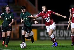 Ashleigh Neville of Tottenham Hotspur Women is challenged by Laura Rafferty of Bristol City Women - Mandatory by-line: Ryan Hiscott/JMP - 14/11/2020 - FOOTBALL - Twerton Park - Bath, England - Bristol City Women v Tottenham Hotspur Women - Barclays FA Women's Super League