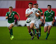 England centre  Johnny Williams chases a loose ball during the World Rugby U20 Championship Final   match England U20 -V- Ireland U20 at The AJ Bell Stadium, Salford, Greater Manchester, England onSaturday, June 25, 2016. (Steve Flynn/Image of Sport)