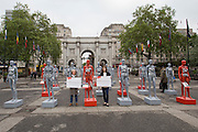 Actresses Imelda Staunton and Jodie Whittaker launch ActionAid's International Safe Cities for Women Day at Marble Arch, with an interactive exhibition featuring a group of 30 mannequins, London.<br /> Picture date: Thursday May 19, 2016. A third of the mannequins featured in the installation will be marked in red, to represent the one in three women who experience violence in their lifetimes. But behind every statistic is a real woman, and on each mannequin are quotes from women around the world telling their experience of urban violence and the stories behind the statistics. ActionAid is campaigning for the UK government to commit to increasing the proportion of aid going directly to women's groups working on the frontline in poor communities. (photo by Andrew Aitchson/ActionAid)