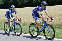 July 4, 2017 - Mondorf Les Bains / Vittel, Luxembourg / France - VITTEL, FRANCE - JULY 4 : VANSPEYBROUCK Pieter (BEL) Rider of Wanty - Groupe Gobert and SMITH Dion (NZL) Rider of Wanty - Groupe Gobert in action during stage 4 of the 104th edition of the 2017 Tour de France cycling race, a stage of 207.5 kms between Mondorf-Les-Bains and Vittel on July 04, 2017 in Vittel, France, 4/07/2017 (Credit Image: © Panoramic via ZUMA Press)