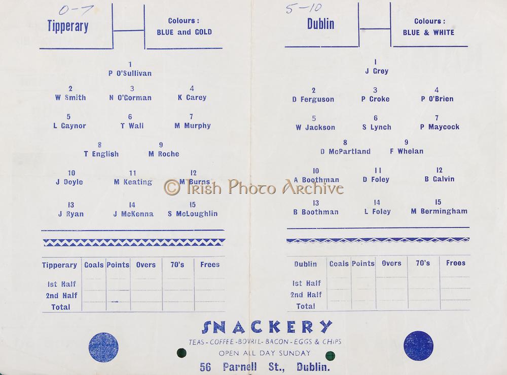Oireachtas Hurling Semi-Final. Tipperary v Dublin. Carrick-on-Suir. 13th September 1964. 13.09.1964