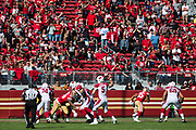 San Francisco 49ers fans cheer for their team during a NFL game against the Arizona Cardinals at Levi's Stadium in Santa Clara, Calif., on November 5, 2017. (Stan Olszewski/Special to S.F. Examiner)