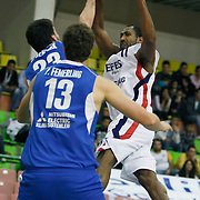 Efes Pilsen's Bootsy THORNTON (R) during their Turkish Basketball league match Efes Pilsen between Antalya BSB at the Ayhan Sahenk Arena in Istanbul Turkey on Wednesday 21 April 2010. Photo by Aykut AKICI/TURKPIX