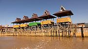Nan Pan bamboo stilt houses on then floating city in Inle Lake, Myanmar