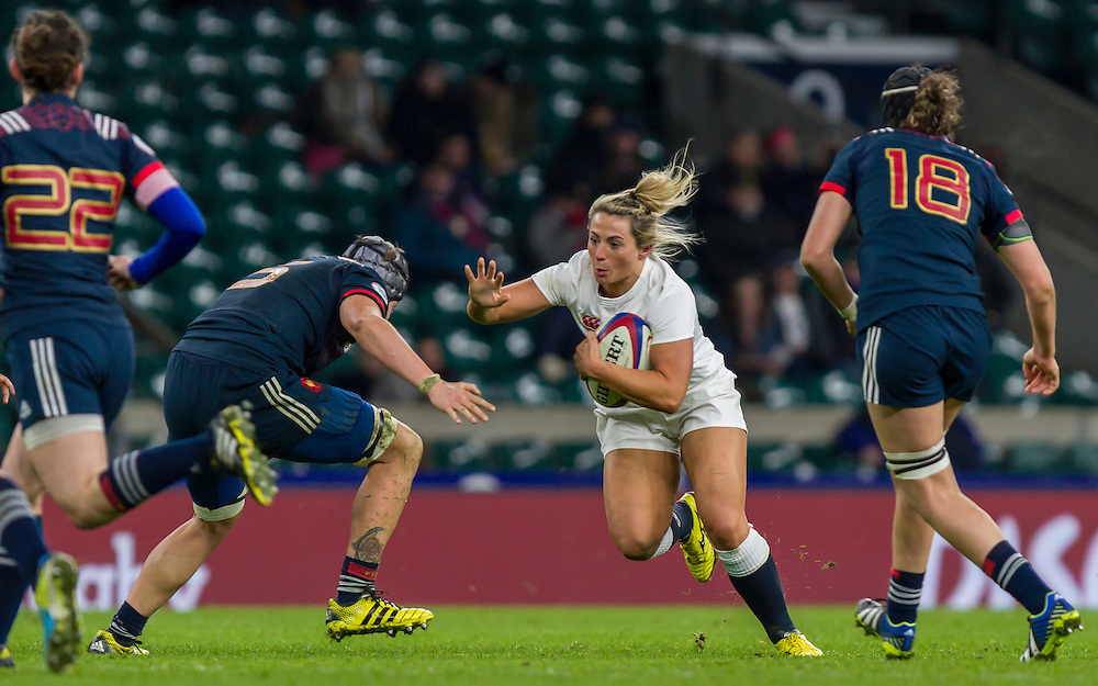 Victoria Fleetwood in action, England Women v France Women in a 6 Nations match at Twickenham Stadium, London, England, on 4th February 2017 Final Score 26-13.