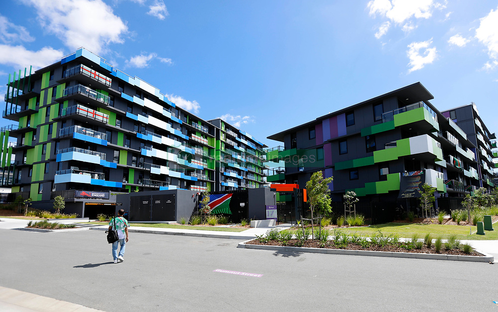 """EXCLUSIVE: Visiting athletes have declared the Gold Coast Commonwealth Games village the """"best ever built"""". The village has everything from condom vending machines, cafes, a hair salon, green area, its own post office, pools in every apartment block, and an entertainment hub. English Beach volleyballers Victoria Palmer and Jess Grimson declared it the """"best games village"""" ever. 30 Mar 2018 Pictured: Athlete accommodation. Photo credit: MEGA TheMegaAgency.com +1 888 505 6342"""
