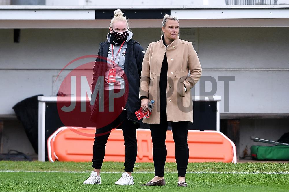 Jesse Woolley of Bristol City Women and Tanya Oxtoby manager of Bristol City Women prior to kick off - Mandatory by-line: Ryan Hiscott/JMP - 18/10/2020 - FOOTBALL - Twerton Park - Bath, England - Bristol City Women v Birmingham City Women - Barclays FA Women's Super League