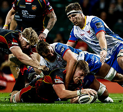 Matthew Screech of Dragons scores his sides fourth try<br /> <br /> Photographer Simon King/Replay Images<br /> <br /> Guinness PRO14 Round 21 - Dragons v Scarlets - Saturday 27th April 2019 - Principality Stadium - Cardiff<br /> <br /> World Copyright © Replay Images . All rights reserved. info@replayimages.co.uk - http://replayimages.co.uk