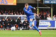 AFC Wimbledon Forward Joe Pigott (39) takes a shot on goal during the EFL Sky Bet League 1 match between AFC Wimbledon and Wycombe Wanderers at the Cherry Red Records Stadium, Kingston, England on 27 April 2019.