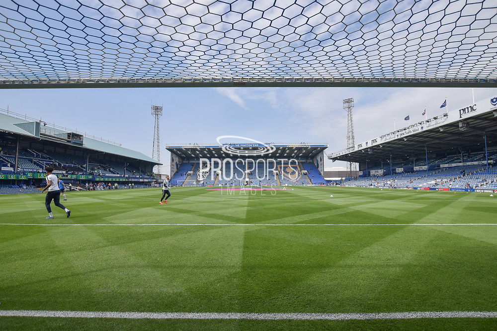 General stadium view from behind the goal at Fratton park during the EFL Sky Bet League 1 match between Portsmouth and Coventry City at Fratton Park, Portsmouth, England on 22 April 2019.