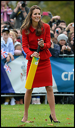 The Duke and Duchess of Cambridge play cricket in a 2015 Cricket World Cup event in Christchurch, New Zealand on day 8 of the Royal Tour of New Zealand and Australia. Monday, 14th April 2014. Picture by Andrew Parsons / i-Images