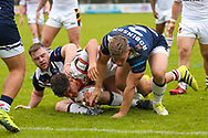Bradford Bulls second row James Bentley (20) is stopped short of the try line during the Kingstone Press Championship match between Swinton Lions and Bradford Bulls at the Willows, Salford, United Kingdom on 20 August 2017. Photo by Simon Davies.