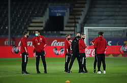 LEUVEN, BELGIUM - Wednesday, March 24, 2021: Wales players inspect the pitch before the FIFA World Cup Qatar 2022 Qualifying game between Belgium and Wales at the King Power Den dreef Stadium. Belgium won 3-1. (Pic by Vincent Van Doornick/Isosport/Propaganda)