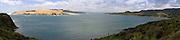 High-angle panoramic view of Hokianga Harbor, Northland, New Zealand