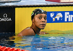Alia Atkinson of Jamaica celebrate after Women 100m Breaststroke Final of FINA/airweave Swimming World Cup Doha 2017 at the Hamad Aquatic Centre in Doha , capital of Qatar on October. 04, 2017.Alia Atkinson claimed the title with 1:04.21 second (Xinhua/Nikku (Credit Image: © Nikku/Xinhua via ZUMA Wire)