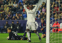 February 24, 2019 - Valencia, Valencia, Spain - Vinicius Jr. of Real Madrid  lamenting during La Liga Spanish championship, football match between Levante and Real Madrid, February 24th, Ciudad de Valencia stadium, in Valencia, Spain. (Credit Image: © AFP7 via ZUMA Wire)