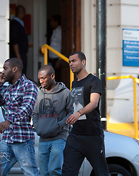 © Licensed to London News Pictures. 19/03/2012. London, U.K..Ashley Cole (right) and Sean Wright Phillips (left)  leaving the London chest Hospital on 19/3/2012 after visiting Fabrice Muamba this afternoon who is still in hospital after suffering A cardiac arrest in the FA Cup match Saturday 17/3/2012 at White Heart Lane against Tottenham Hotspur..Photo credit : Rich Bowen/LNP