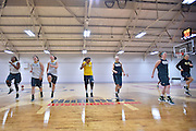 April 3, 2016; Indianapolis, Ind.; The UAA women's basketball team warms up before their practice session at Harvest Pavilion on the Indiana State Fair grounds.