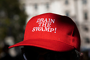 Pro-Brexit leave protester with a red baseball hat reading Drain the swamp outside The Supreme Court as the last day of the hearing to rule on the legality of suspending or proroguing Parliament begins on September 19th 2019 in London, United Kingdom. The ruling will be made by 11 judges in the coming days to determine if the action of Prime Minister Boris Johnson to suspend parliament and his advice to do so given to the Queen was unlawful.