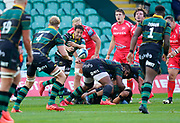 Northampton Saints scrum-half Alex Mitchell pass es the ball to lock David Ribbans during the Gallagher Premiership Rugby match Northampton Saints -V- Sale Sharks won by Sale 34-14, at Franklin's Gardens, Northamptonshire ,England United Kingdom, Tuesday, September 29, 2020. (Steve Flynn/Image of Sport)
