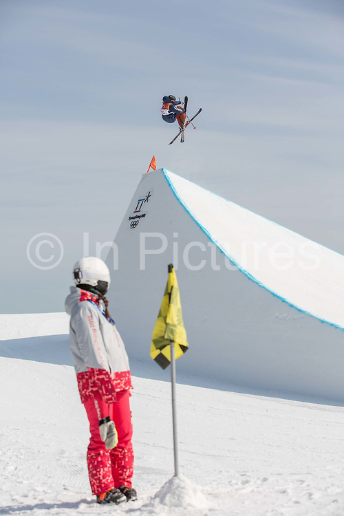 Jackson Wells, New Zealand, at thePyeongchang 2018 Winter Olympics men's freestyle ski slopestyle qualifications on February 18th 2017, at the Phoenix Snow Park inPyeongchang-gun, South Korea.