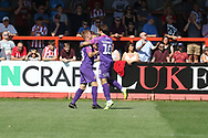 Keshi Anderson scores Swindon's opening goal and celebrate  during the EFL Sky Bet League 2 match between Cheltenham Town and Swindon Town at Jonny Rocks Stadium, Cheltenham, England on 24 August 2019.