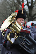 The Royal Artillary band led the day's proceedings leading the troop into Green Park