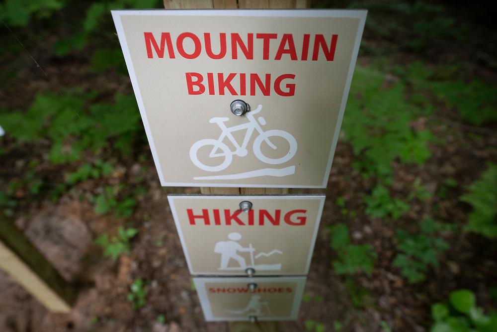 Signage for multiuse trails in Big Bay, Michigan.