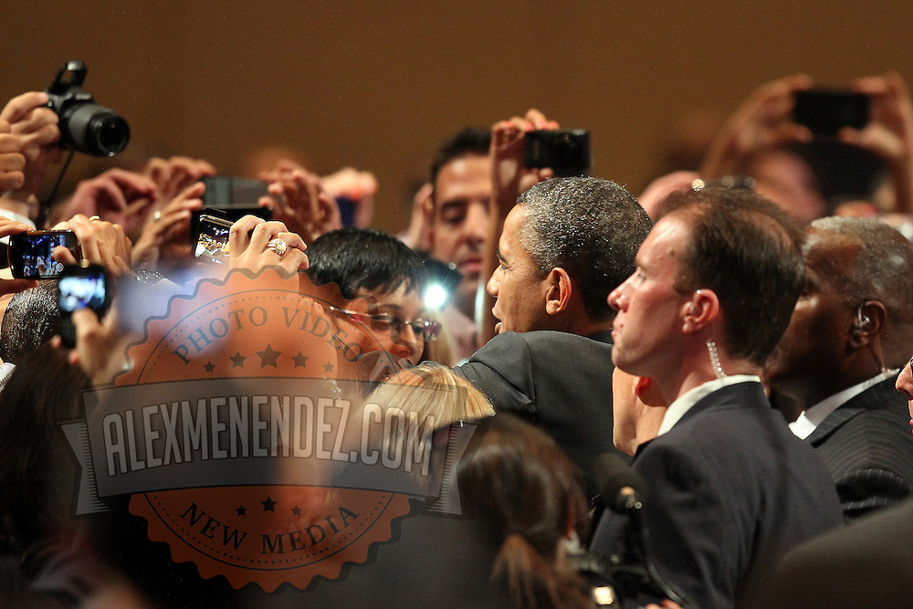 President Barack Obama greets attendees after his speech at the NALEO (National Association of Latino Elected and Appointed Officials) conference at the Disney Contemporary Resort Convention Center in Lake Buena Vista, Fla. on Friday, June 22, 2012. (AP Photo/Alex Menendez) President Barack Obama speaks in Orlando, Florida.