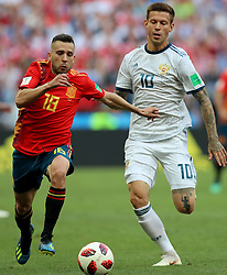MOSCOW, July 1, 2018  Jordi Alba (L) of Spain vies with Fedor Smolov of Russia during the 2018 FIFA World Cup round of 16 match between Spain and Russia in Moscow, Russia, July 1, 2018. (Credit Image: © Yang Lei/Xinhua via ZUMA Wire)