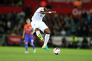 Leroy Fer of Swansea city in action. EFL Cup. 3rd round match, Swansea city v Manchester city at the Liberty Stadium in Swansea, South Wales on Wednesday 21st September 2016.<br /> pic by  Andrew Orchard, Andrew Orchard sports photography.