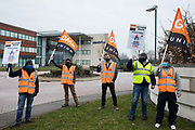 GMB members stand on a picket line outside the headquarters of Centrica, owners of British Gas, on 8th March 2021 in Windsor, United Kingdom. British Gas engineers and staff belonging to the GMB trade union began another in a series of 'Stop The British Gas Fire' strikes last week after overwhelmingly rejecting an offer by Centrica intended to resolve a dispute regarding rehiring on inferior terms and conditions.