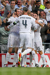 Gareth Bale of Real Madrid celebrates scoring a goal to make it 1-0 - Mandatory byline: Rogan Thomson/JMP - 04/05/2016 - FOOTBALL - Santiago Bernabeu Stadium - Madrid, Spain - Real Madrid v Manchester City - UEFA Champions League Semi Finals: Second Leg.