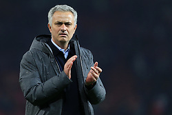 11th May 2017 - UEFA Europa League - Semi Final (2nd Leg) - Manchester United v Celta Vigo - Man Utd manager Jose Mourinho applauds the support after the match - Photo: Simon Stacpoole / Offside.