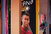 Portugal's national hero, the footballer Christiano Ronaldo, has his face distorted on beach towel merchandising in a parody detail, on 18th July 2016, at Costa Novo, near Aveira, Portugal. Ronaldo is one of the world's sporting superstars, especially after his team's recent historic victory over France in the final of the Euro 2016 tournament. (Photo by Richard Baker / In Pictures via Getty Images)