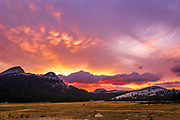 Sunset over Tuolumne Meadows, Yosemite National Park, California USA