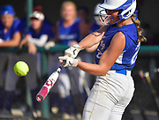 Freeburg batter Maleah Blomenkamp hits a triple late in the game. Freeburg defeated Nashville in the Class 2A sectional softball title game at Nashville High School in Nashville, IL on Thursday June 10, 2021. Tim Vizer/Special to STLhighschoolsports.com.