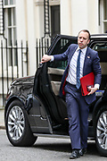 Secretary of State for Health and Social Care Matt Hancock returns to 10 Downing Street in London, after attending the weekly session of PMQs, Wednesday, March 18, 2020. (Photo/Vudi Xhymshiti)