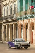 Vintage car on city street, Havana, Cuba