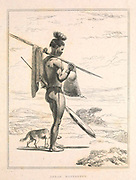 Korah Hottentot male from the book Sketches representing the native tribes, animals, and scenery of southern Africa : from drawings made by the late Mr. Samuel Daniell. by Daniell, Samuel, 1775-1811; Daniell, William, 1769-1837; Barrow, John, Sir, 1764-1848; Somerville, William, 1771-1860; Printed by Richard and Arthur Taylor : Published by William Daniell, and William Wood, London, 1820