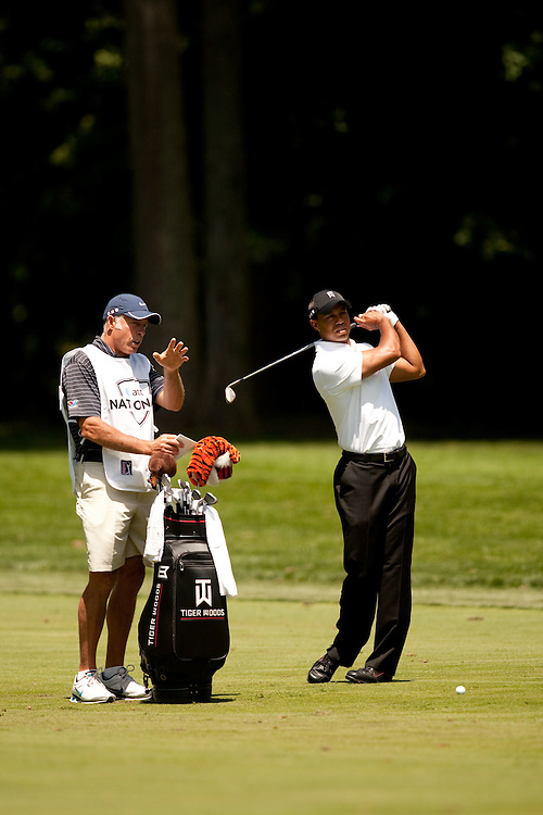 NEWTOWN SQUARE, PA - JULY 1: Tiger Woods with caddie Steve Williams during the first round of the AT&T National Classic at Aronimink Golf Club on July 1, 2010 in Newtown Square, Pennsylvania. (Photo by Darren Carroll) *** Local Caption *** Tiger Woods;Steve Williams