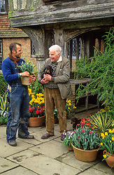 Christopher Lloyd and Fergus Garrett outside the front porch at Great Dixter