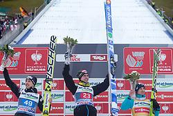 04.01.2014, Bergisel Schanze, Innsbruck, AUT, FIS Ski Sprung Weltcup, 62. Vierschanzentournee, Bewerb, im Bild Podium: vl. dritter Simon Ammann (SUI), Sieger Anssi Koivuranta (FIN) und dritter Kamil Stoch (POL) // Podium: fl. second placed Simon Ammann (SUI), Winner Anssi Koivuranta (FIN) and third placed Kamil Stoch (POL)  after Competition of 62nd Four Hills Tournament of FIS Ski Jumping World Cup at the Bergisel Schanze, Innsbruck, Austria on 2014/01/04. EXPA Pictures © 2014, PhotoCredit: EXPA/ JFK
