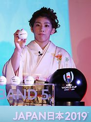 KYOTO, JAPAN - MAY 10: Saori Yoshida, Olympic freestyle wrestler of Japan draws Americas 2 during the Rugby World Cup 2019 Pool Draw at the Kyoto State Guest House on May 10, in Kyoto, Japan. Photo by Dave Rogers - World Rugby/PARSPIX/ABACAPRESS.COM