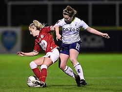 Faye Bryson of Bristol City Women is challenged by Emily Syme of Aston Villa Women - Mandatory by-line: Ryan Hiscott/JMP - 13/01/2021 - FOOTBALL - Twerton Park - Bath, England - Bristol City Women v Aston Villa Women - FA Continental Cup quarter final