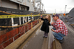Mare Island residents get a close-up view of the first ship to be recycled by Allied Defense Recycling.  Hundreds of attendees from throughout the region gathered to mark the official re-opening of the Mare Island Dry Docks.