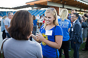 Natalie Chilton of Voivebase socializes during the Silicon Valley Business Journal 40 Under 40 event at Avaya Stadium in San Jose, California, on July 31, 2018. (Stan Olszewski for Silicon Valley Business Journal)