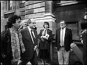 Taoiseach Meets With Guildford Four.   T9..1989..03.11.1989..11.03.1989..3rd November 1989..An Taoiseach, Charles Haughey TD,met  with Paul Hill and Gerard Conlon,two of the Guildford Four. The Guildford Four had been wrongly convicted of a pub bombing and were subsequently released on appeal after 14 years. They had not been compensated for their time in prison and were meeting with the Taoiseach to highlight the injustices they had suffered...Image shows Minister for Foreign Affairs, Gerry Collins escorting Gerard Conlon into the meeting with An Taoiseach, Charles Haughey TD.